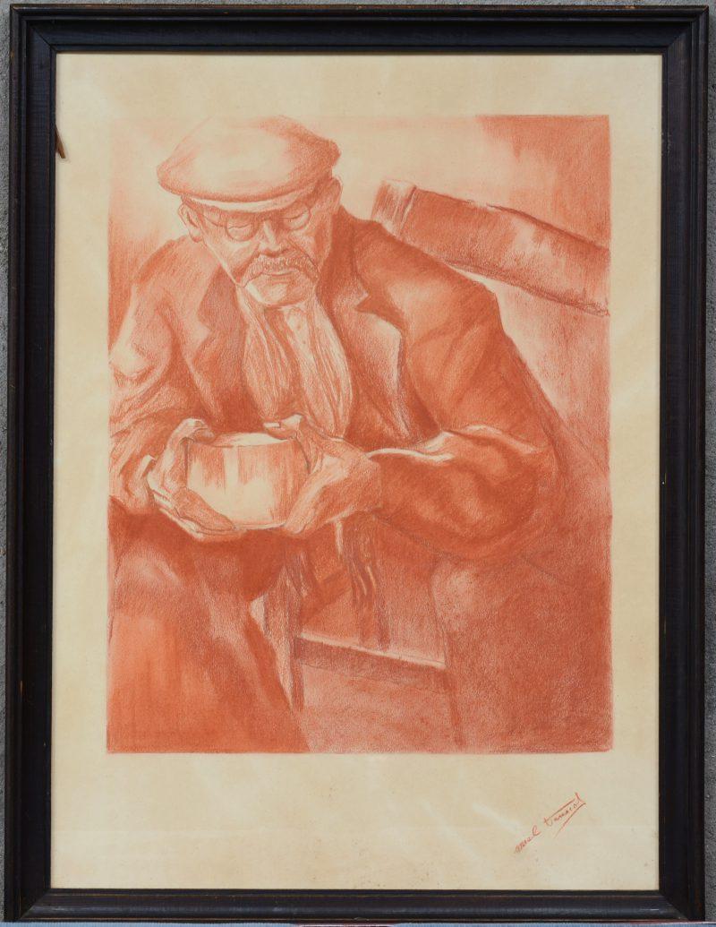 """""""Portret van een werkman."""" Sanguinetekening op papier. Onleesbaar Gesigneerd."""