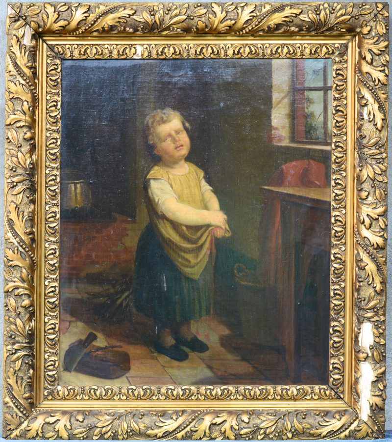 """""""Met Messen Spelen."""" Olieverf op doek. Gesigneerd en gedateerd 1861."""