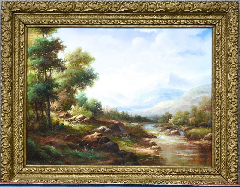 """""""Romantisch rivierlandschap"""". Olieverf op doek. Apocrief gesigneerd."""