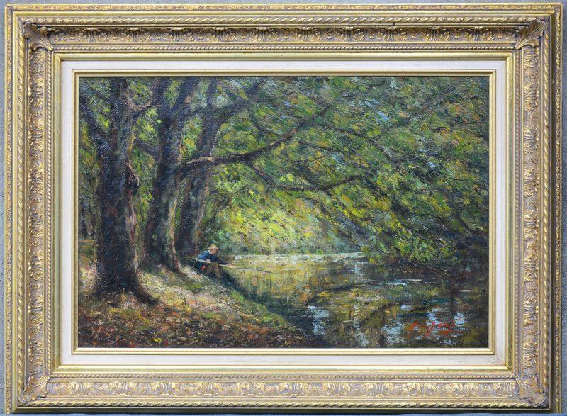 """""""Visser in een bosrijke omgeving"""". Olieverf op doek. Gesigneerd."""