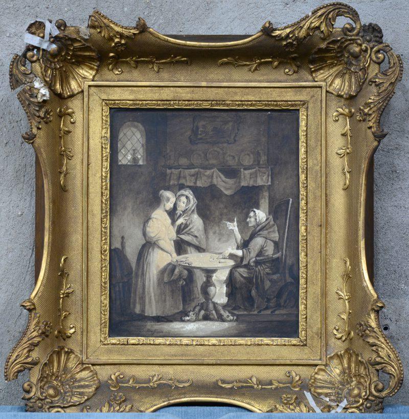 """""""De kaartlegster"""". Gewassen pentekening. Gesigneerd en gedateerd 1835."""