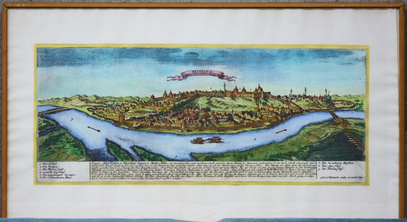 Een ingekleurde herduk van een oude kaart van GriechischWeissenburg.