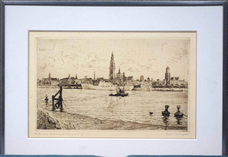 """""""Zicht op Antwerpen"""". Gravure. Gesigneerd."""