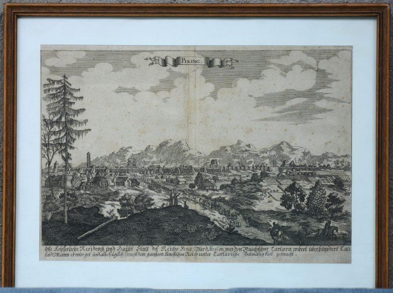 Oude gravure met voorstelling van Beijing, veroverd door de Russische Tataren.