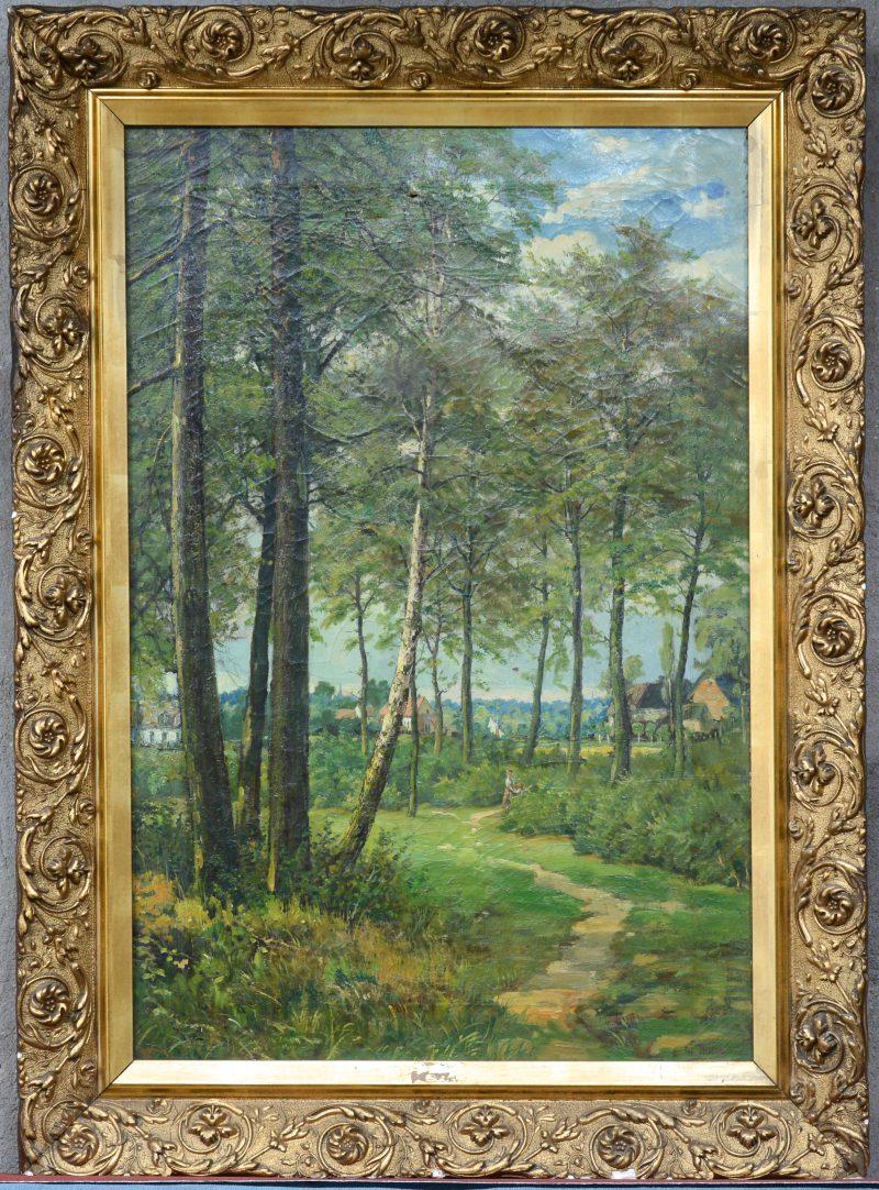 """Moeder en kind op een bosweg met hoeves in de achtergrond"". Olieverf op doek. Omstreeks 1900."