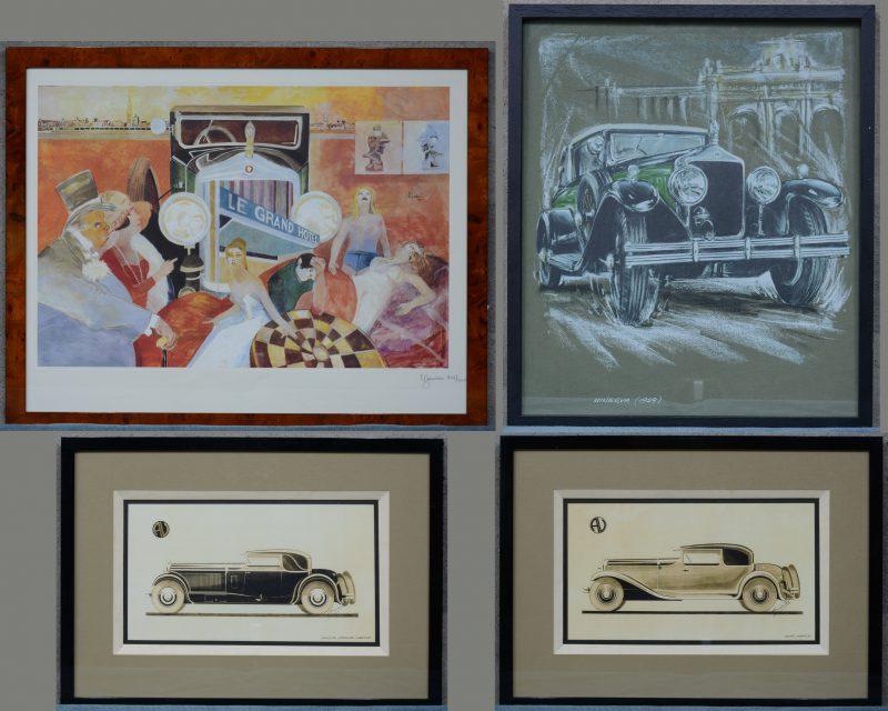 Een lot van vier decoratieve reproducties met betrekking tot Minerva Automobiles.