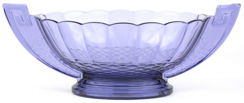 Een Art-Deco milieu de table in mauve glas. Gemerkt: VSL.