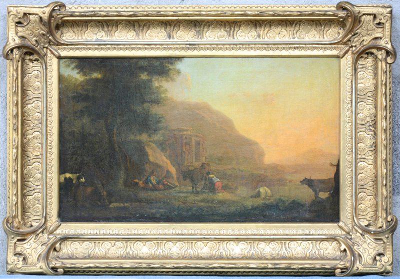 """""""Romantisch landschap met personages, vee en een ruïne"""""""