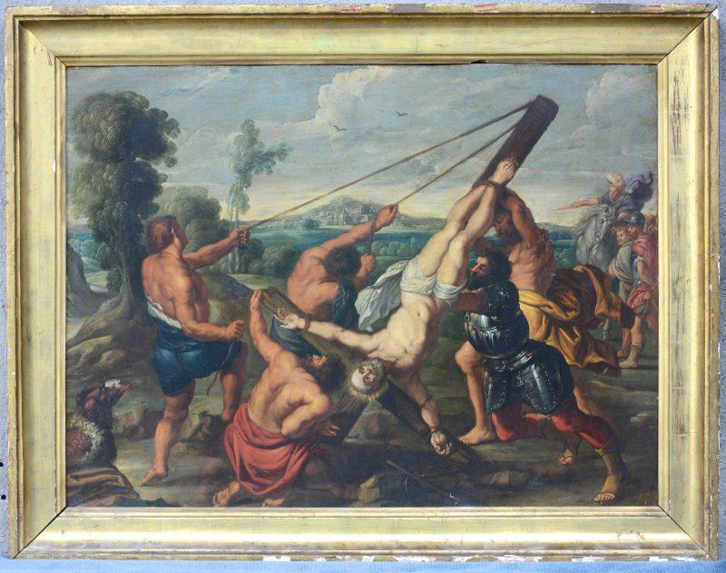 """""""De kruisiging van Petrus"""". Olieverf op koper. Antwerpse school, XVIIe eeuw."""