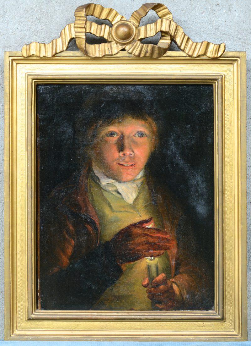 """""""Jongeling met kaars"""". Olieverf op doek. XVIIIe eeuw."""