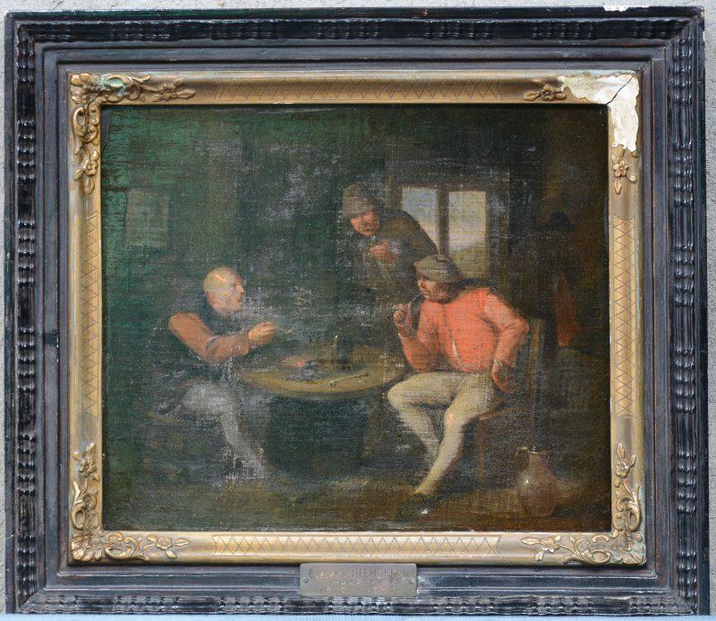 """""""Herbergscène"""". Olieverf op doek. Toegeschreven aan Egbert van Heemskerk (1610-1680). Slijtage."""