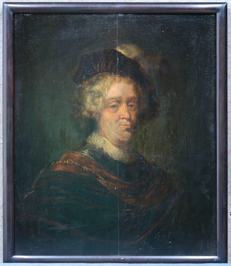 """""""Herenportret"""". Olieverf op paneel. XVIIe eeuw. Achteraan een oude toeschrijving aan Ferdinand Bol (1616 - 1681). Paneel gerestaureerd."""