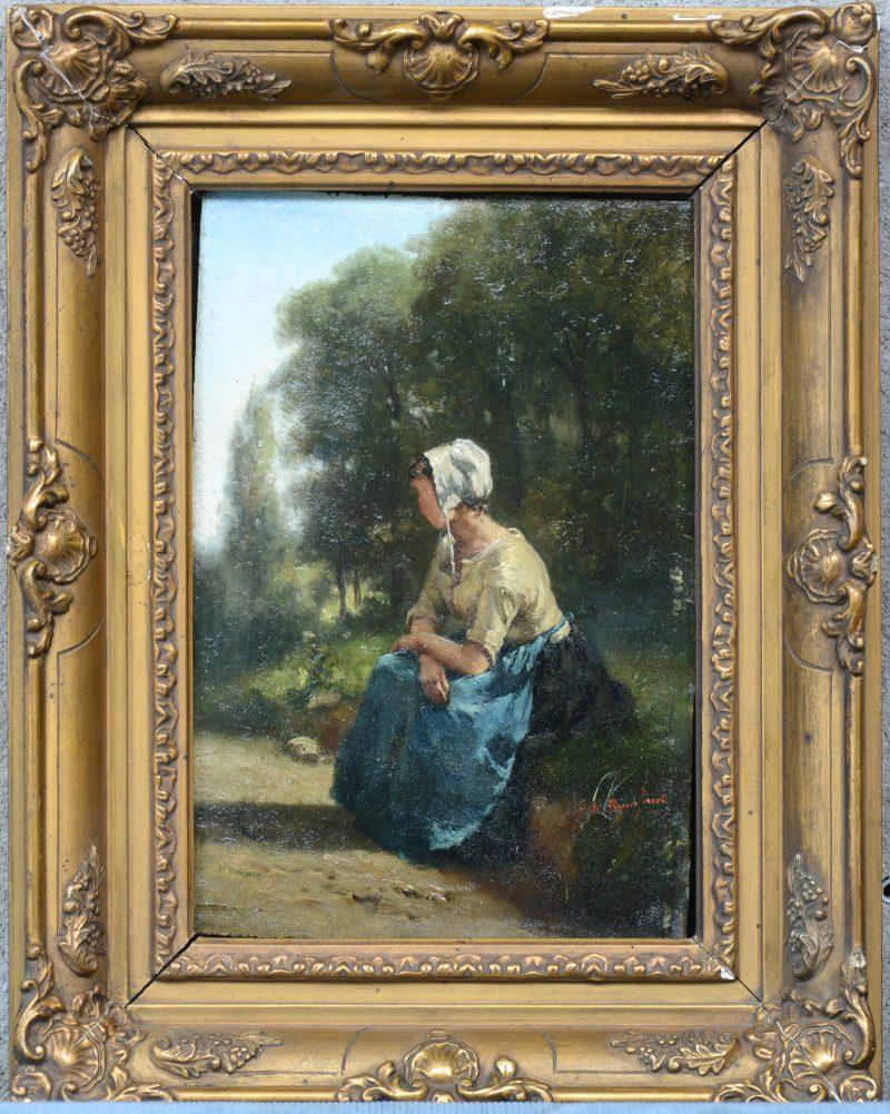 """""""Zittende vrouw langs de kant van de weg"""". Olieverf op paneel. Gesigneerd. XIXe eeuw."""