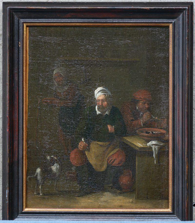 """""""Herbergscène"""". Olieverf op doek. Vlaamse/Hollandse school, omstreeks 1700. Vervaagde signatuur op de tafelpoot. Met rapport."""