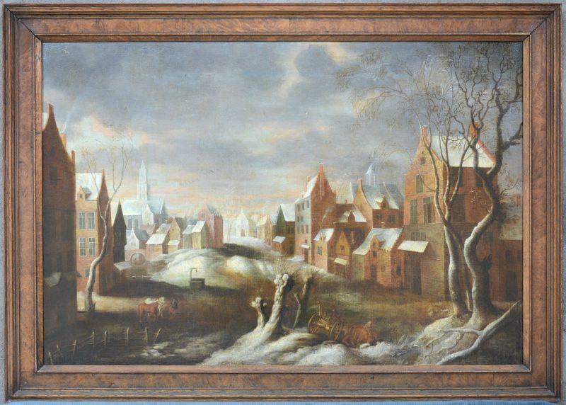 """""""Winters stadszicht"""". Olieverf op doek. XVIIIe eeuw."""