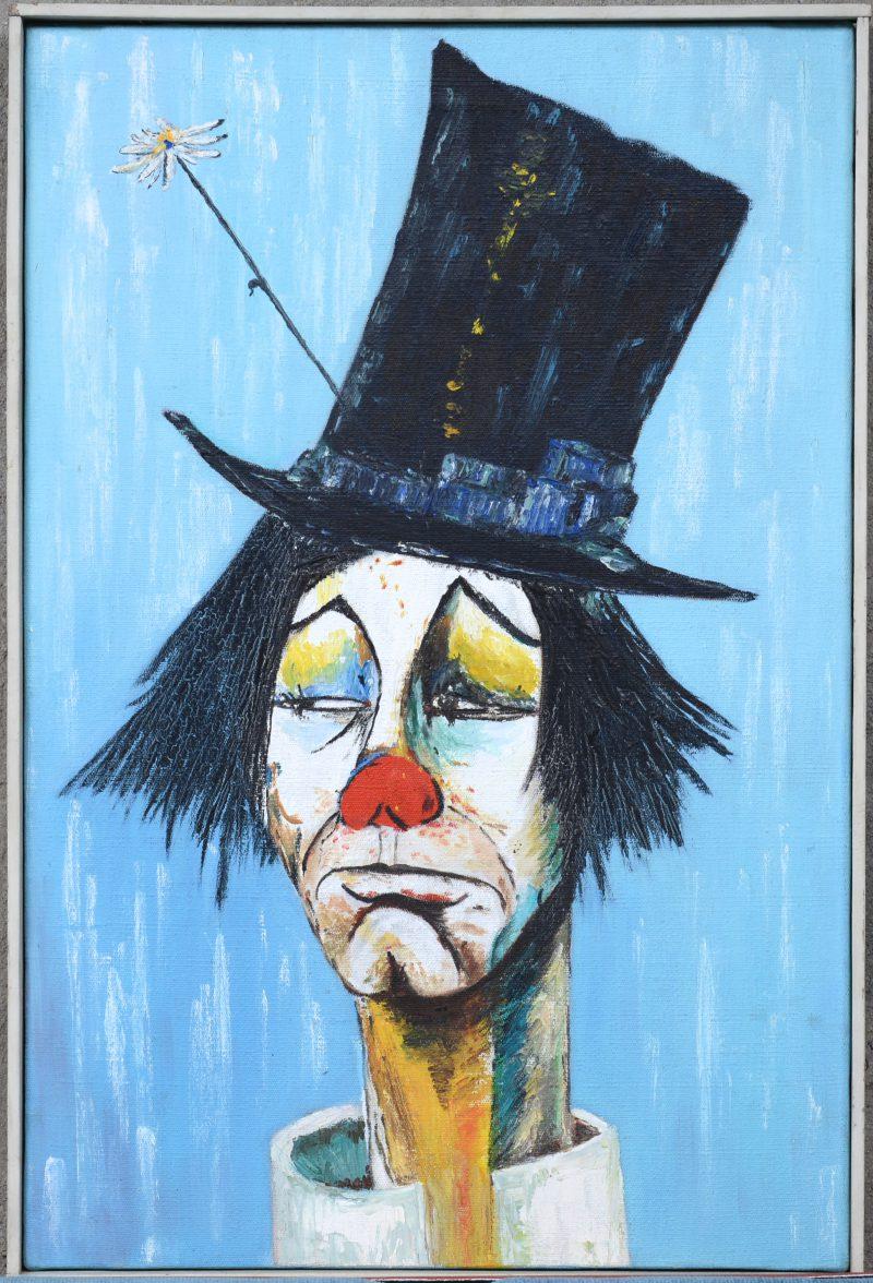 """""""Clown met hoed"""". Olieverf op doek. In de geest van Bernard Buffet."""