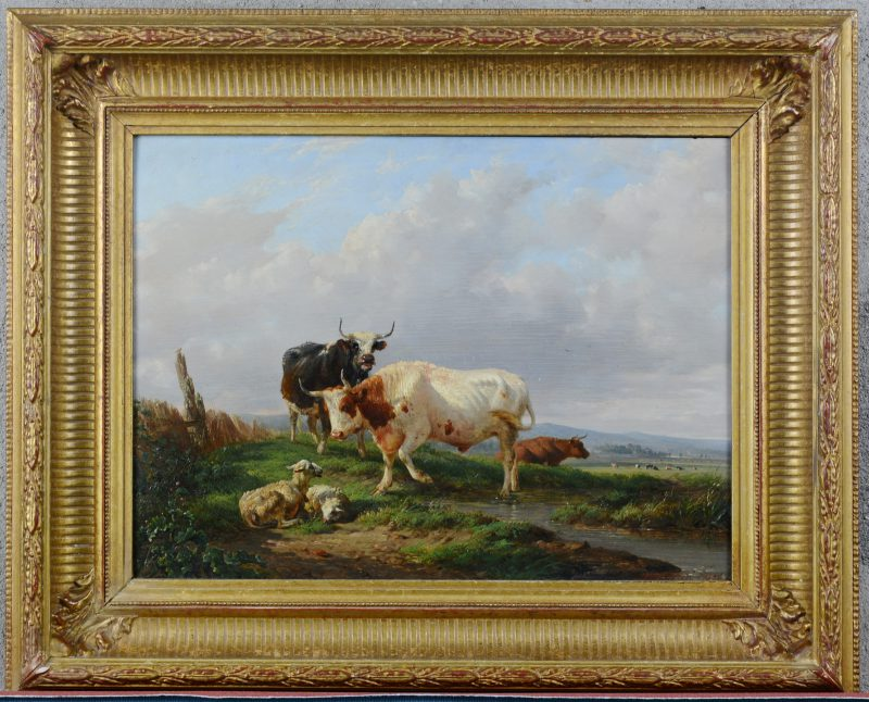 """""""Koeien en schapen"""". Olieverf op paneel. gesigneerd en gedateerd 1856."""