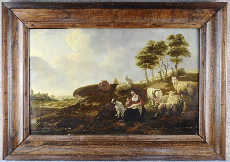 """""""Pastoraal landschap met een naaiende herderin en een slapende herder met hun hond bij hun kudde"""". Olieverf op paneel. XIXe eeuw. Zonder signatuur."""
