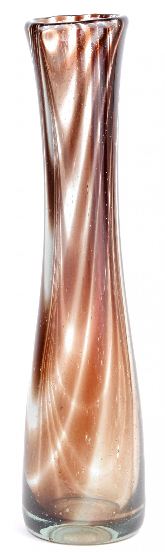 Langwerpige glazen vaas, onderaan gemerkt en gesigneerd Copier.