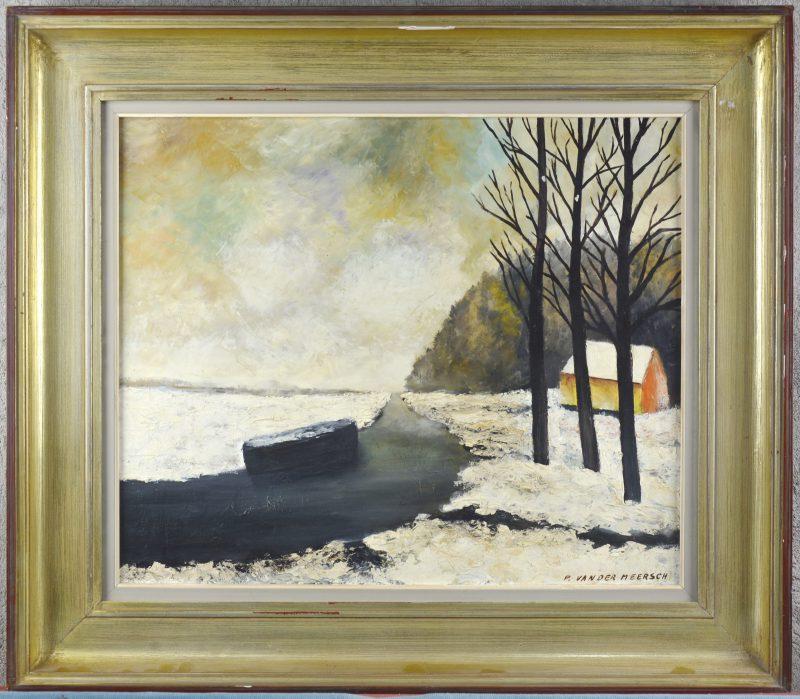 """""""Winters rivierlandschap"""". Olieverf op doek. Gesigneerd."""