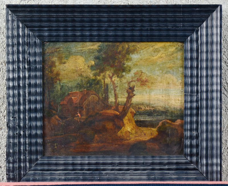 """""""Pastorale landschap"""". Olieverf op koper. XIXe eeuw."""