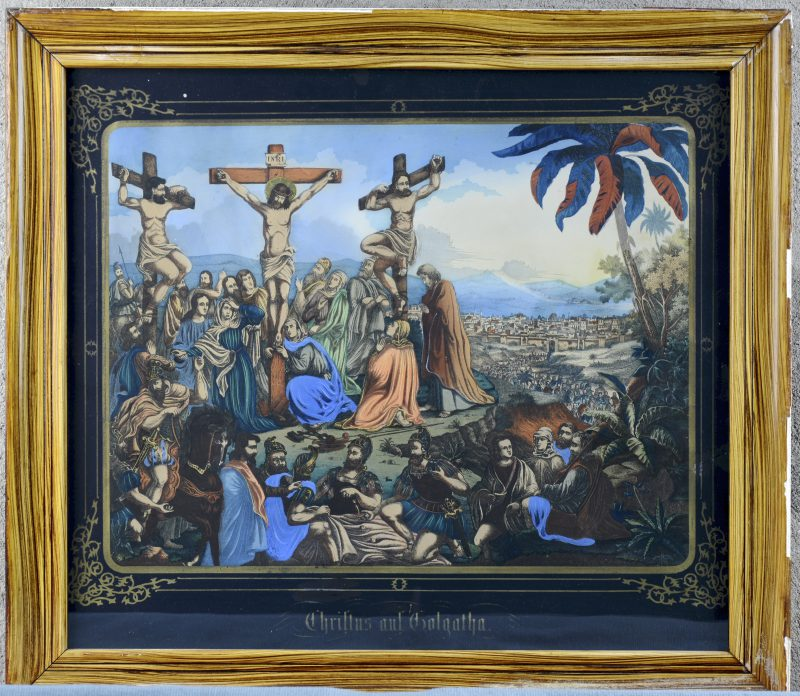 """Christus auf Golgatha"". Een ingekleurde gravure met gouddruk. Omstreeks 1900."