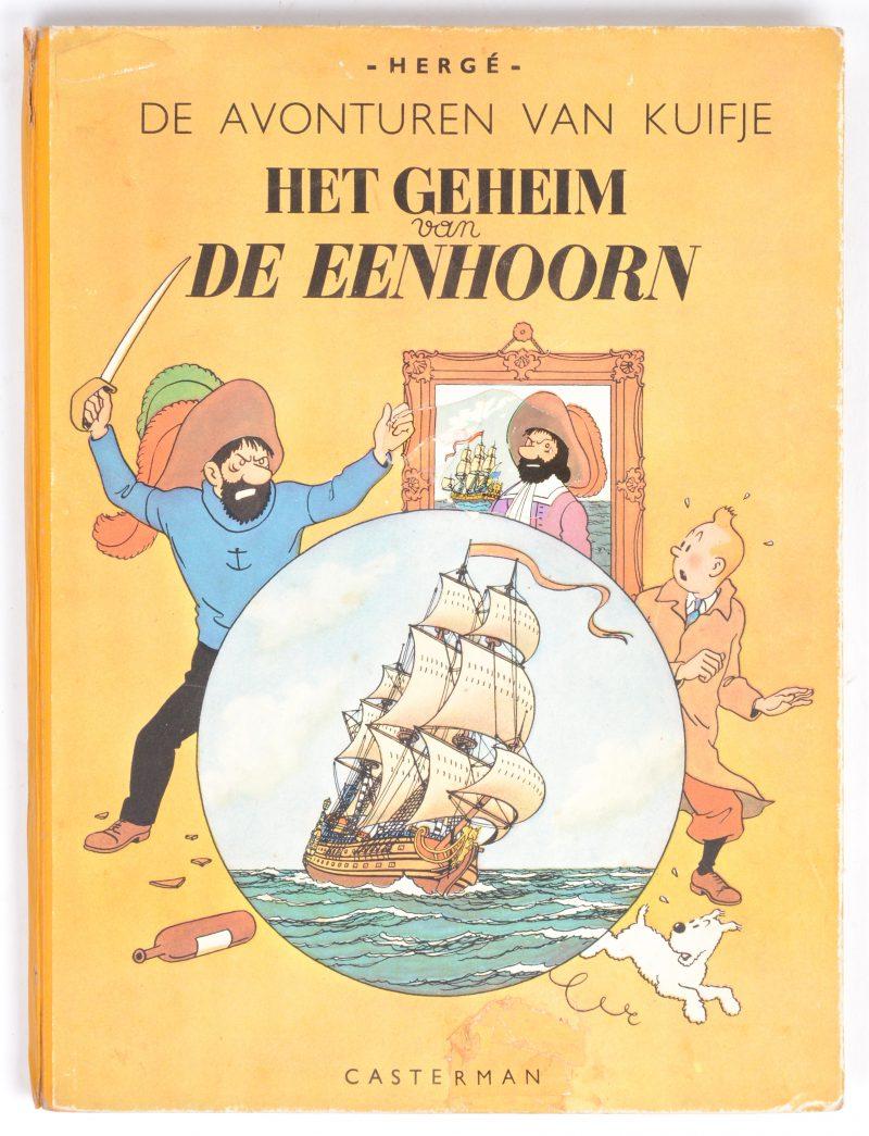 """""""De avonturen van Kuifjel: Het geheim van de Eenhoorn"""". Ed. Casterman. Eerste uitgave, 1946. Matige staat. Restauratie aan de voorste kaft."""