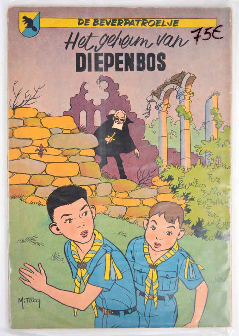 """""""De Beverpatroelje: Het geheim van Diepenbos"""". Ed. Dupuis. Eerste druk, 1955. Goede staat. Rug licht beschadigd."""