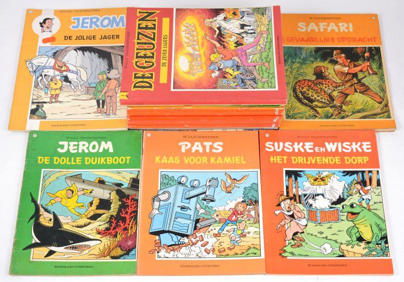 Een lot strips, bestaande uit 16 albums van 'Suske en Wiske', 3 albums van 'Safari', een album van 'Pats', 4 albums van 'Jerom', een album van 'Karl May', en twee dezelfde uitgaven van 'De Geuzen'.
