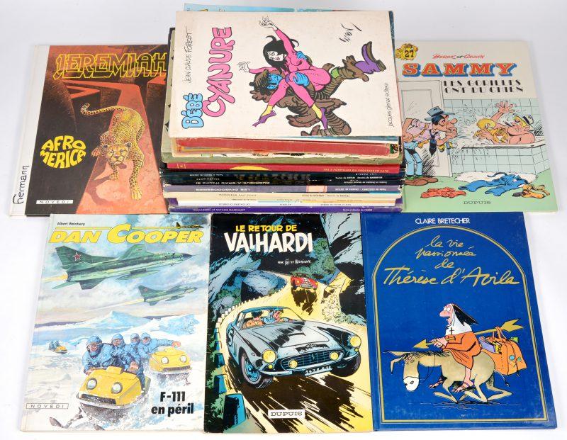 Een lot van 19 Franstalige strips, waaronder 'Sammy', 'Dan Cooper', 'Jeremiah', enz.. Bijgevoegd een Duitstalig album van 'Baracuda'.