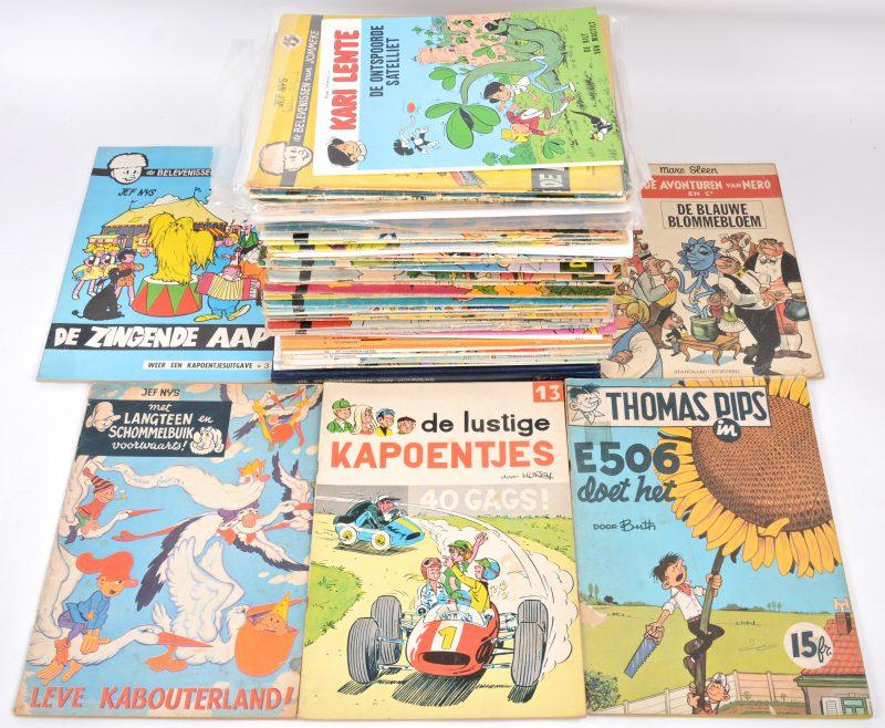 Een lot van 61 strips, bestaande uit 51 albums van 'Jommeke', waaronder enkele eerste drukken (De muzikale Bella, Met Fifi op reis, ...), een abum van 'Kari Lente', een album van 'De lustige kapoentjes', een album van 'Thomas Pips', 3 albums van 'Nero' en een album van 'Langteen en Schommelbuik. Eveneens twee verhalen van Jeff Nys (Pius X & Bernadette) en een Engelstalig kleurboek met strip van Jommeke.