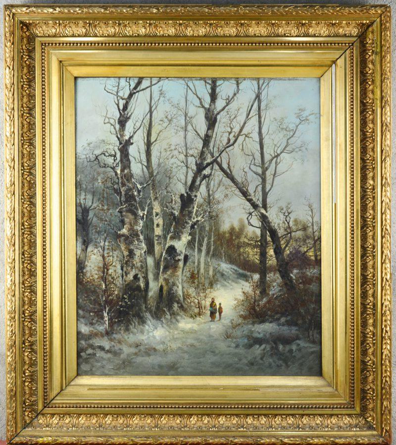 """""""Wandelaars in een besneeuwd bos"""". Olieverf op doek. Zonder signatuur. Kleine perforatie bovenaan."""