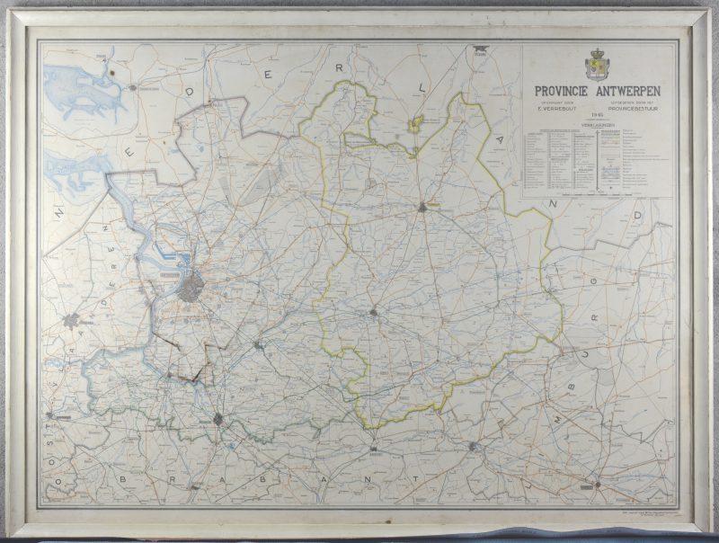 Een kaart van de provincie Antwerpen anno 1945. Uitgegeven door het provinciebestuur in 1947.