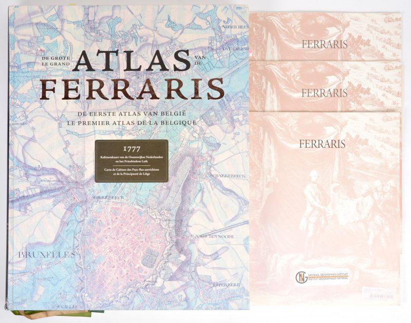"""""""De Grote Atlas van Ferraris"""". Gezameliijke realisatie van de Koninklijke Bibliotheek van België, het Nationaal Geografisch Instituur, Lannoo & Racine. Ed. Lannoo, 2009. In kartonnen stofhoes."""