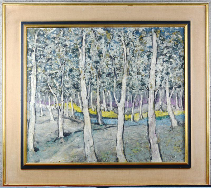"""""""Landschap"""". Olieverf op doek. Gesigneerd en gedateerd 1-11-1953."""