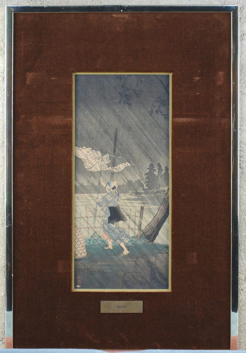 """""""De regenbui"""". Een ingekleurde Japanse houtsnede. Gesigneerd?"""