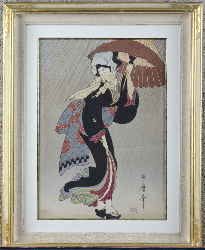 """Geisha met paraplu"". Een ingekleurde Japanse houtsnede. Gesigneerd."