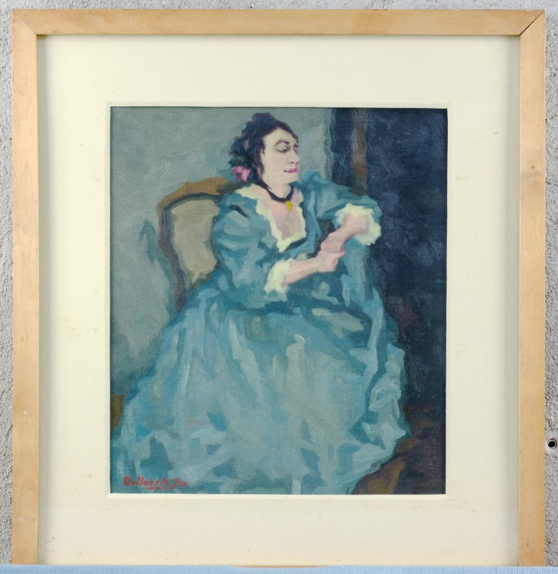 """""""Portret van een dame"""". Olieverf op paneel. Gesigneerd."""