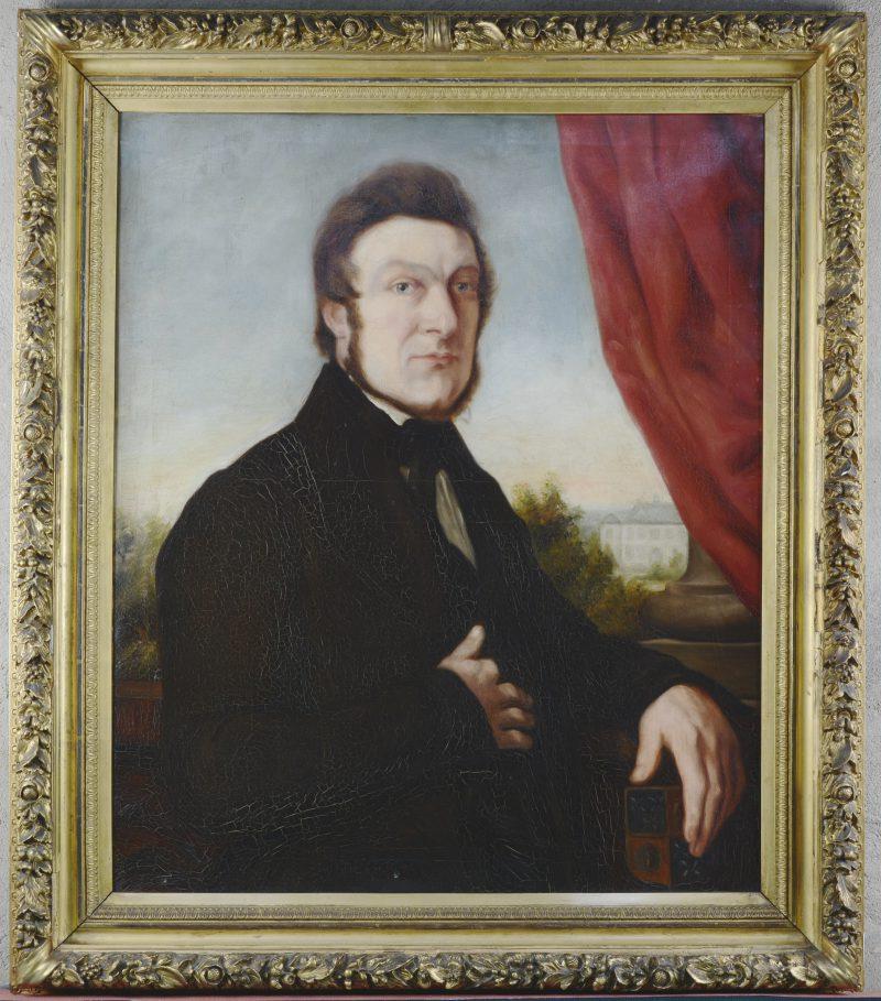 """""""Herenportret. Joseph Corneille Vermoelen"""". Olieverf op doek. Belgische School, XIXde eeuw."""