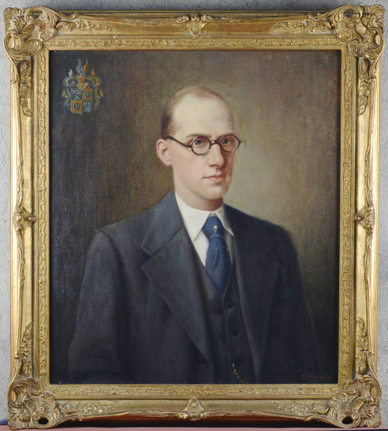 """""""Herenportret. Joseph Michel Vermoelen (1909-1986)"""". Olieverf op doek. XIXde eeuw."""