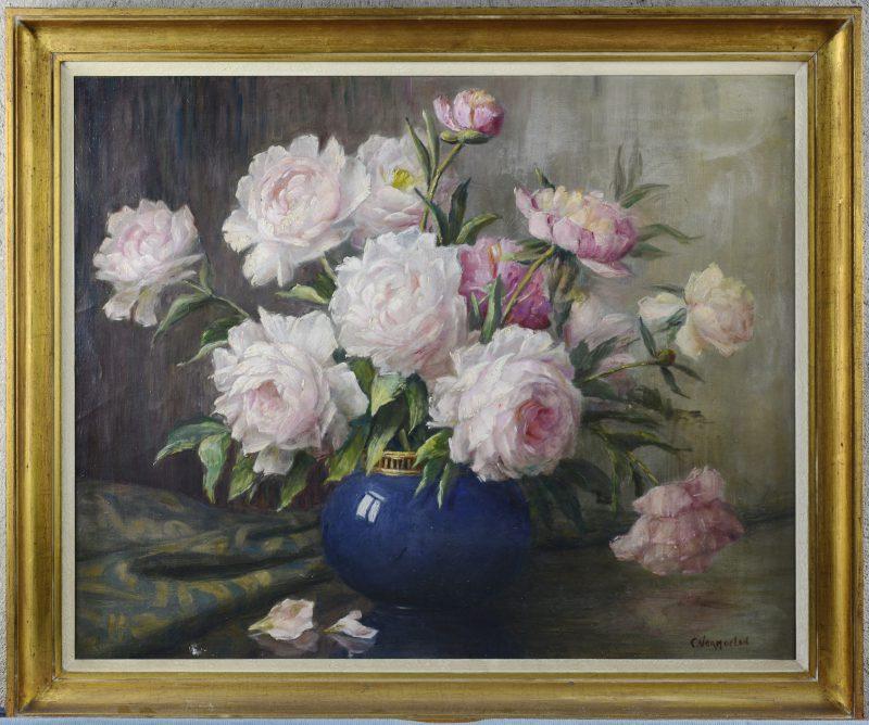 """""""Vaas met rozen"""". Olieverf op doek. Gesigneerd."""