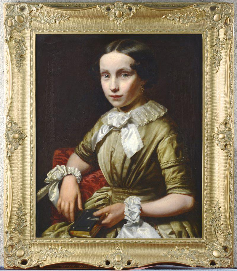 """""""Meisjesportret"""". Olieverf op gemaroufleerd doek. Belgische school, begin XIXde eeuw."""