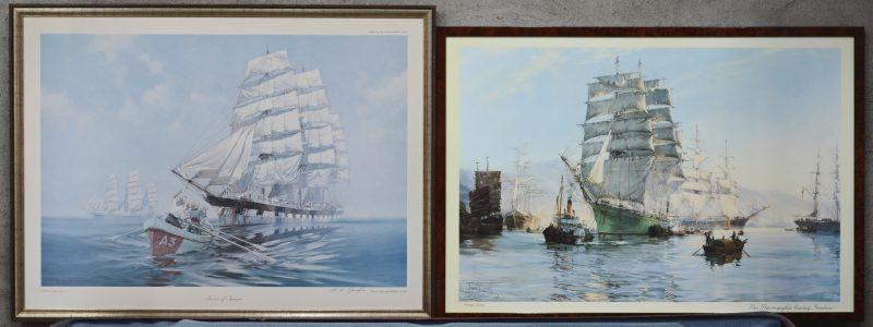 Twee reproducties met zeilschepen. Naar Montague Dawson en K.A. Griffin.
