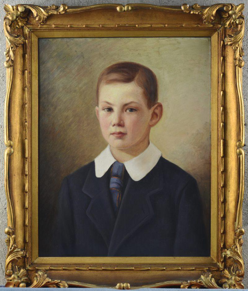 """""""Jongensportret"""". Olieverf op doek. Gesigneerd."""