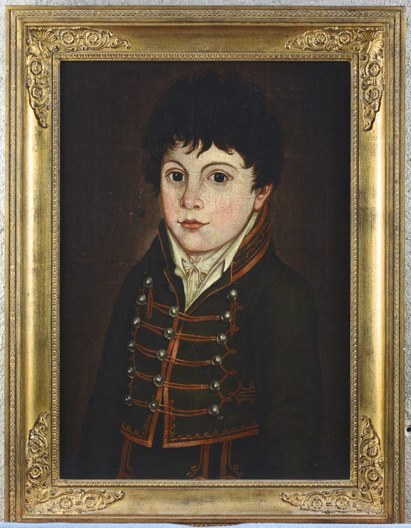 """""""Jongensportret"""". Olieverf op paneel. Belgische School, omstreeks 1820."""