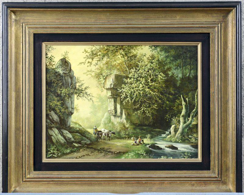 """""""Landschap"""". Olieverf op paneel. Recent werk naar de XVIIde eeuw."""