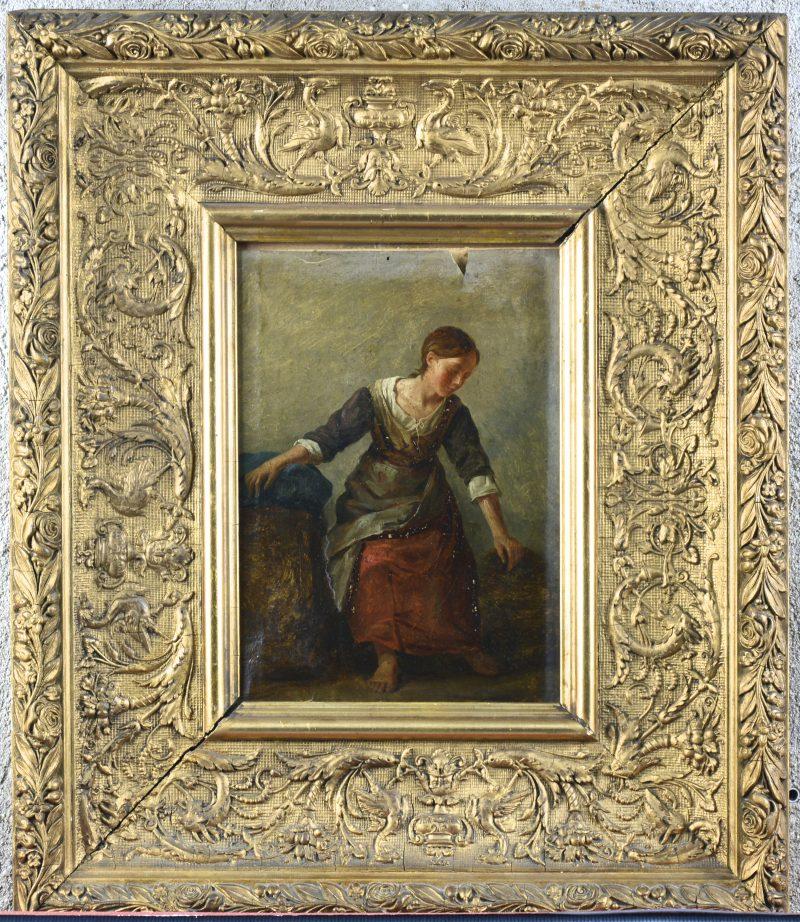 """Zittende jonge vrouw"". Olieverf op doek. In oorspronkelijke lijst, omstreeks 1830. Letsels."