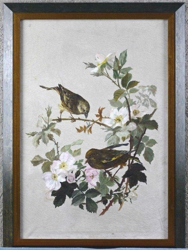 """""""Stilleven met vogels en bloesems"""". Olieverf op doek. Gesigneerd achteraan."""