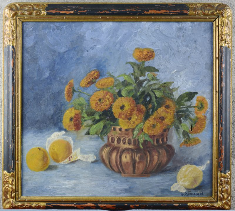 """""""Stilleven met bloemen"""". Olieverf op doek. In oorspronkelijke lijst, omstreeks 1830. Letsels."""