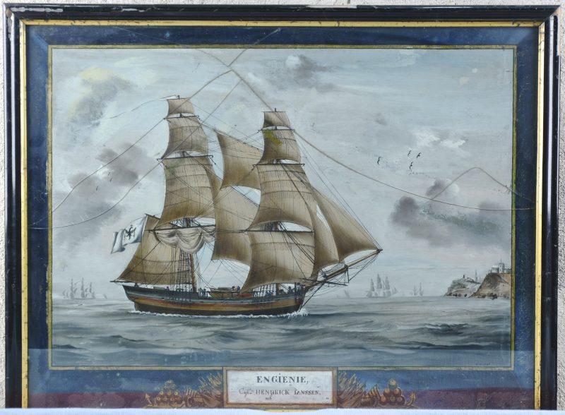 """Zeilschip Engienie 1880. Cap. Hendrick Janssen"". Gouache. Gesigneerd. Glas gebroken."